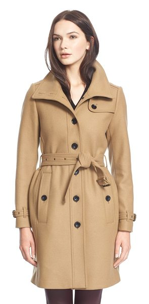 Burberry Brit rushfield wool blend stand collar coat in camel - A poppable collar tops a modern single-breasted trench...