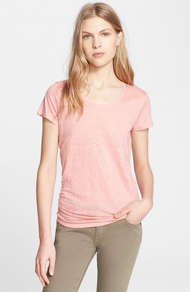 Burberry Brit scoop neck linen tee in carnation pink - A delicately slubbed knit spun from soft and breathable...
