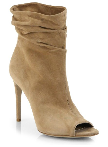 BURBERRY Burlison open-toe suede leather booties - Slouchy leather boots with an open toe and signature...