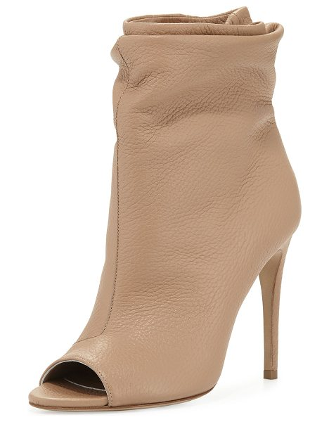 """Burberry Burlison scrunched leather bootie in camel - Burberry deerskin leather bootie. 4"""" covered heel; 9""""..."""