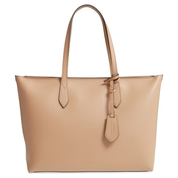 BURBERRY calfskin leather tote in mid camel - A lightly structured tote with a flat base resists...