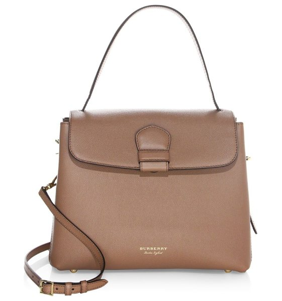 Burberry camberley leather tote in dark sand - Leather tote with signature house check panels. Top...