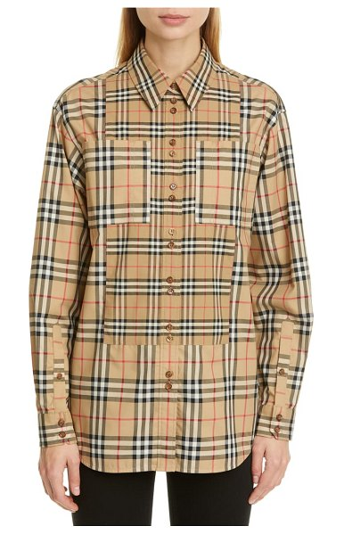 Burberry carlota broken check stretch poplin shirt in beige
