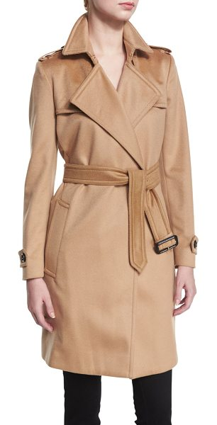 "BURBERRY Cashmere Belted Wrap Trenchcoat - Burberry London cashmere trenchcoat. Approx. 37.4""L from..."