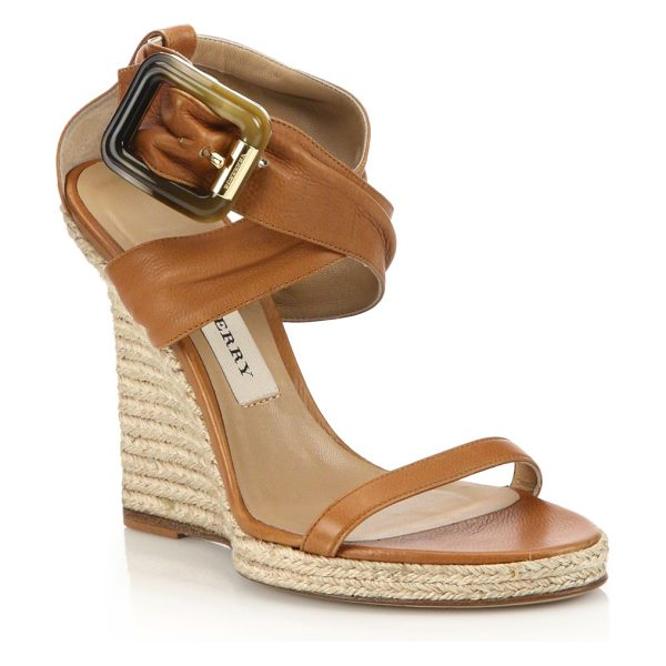 Burberry Catsbrook leather espadrille wedge sandals in camel - Leather sandals with crisscrossed ankle strapEspadrille...