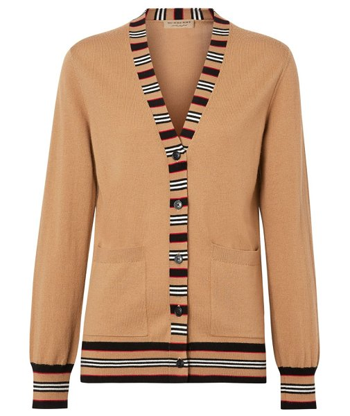Burberry cauca merino wool stripe cardigan in camel