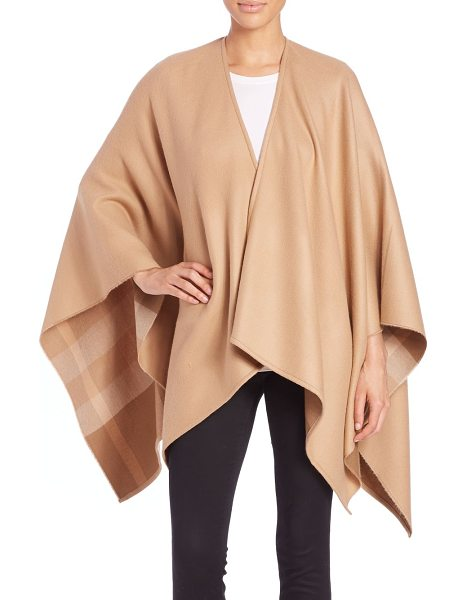 Burberry Charlotte check-lined wool cape in camel - Signature checks line the inside of this ultra-soft...