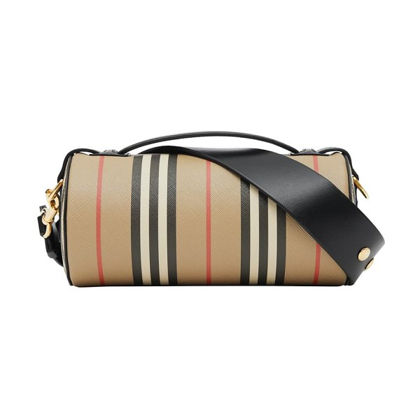 Burberry check & leather barrel bag in beige