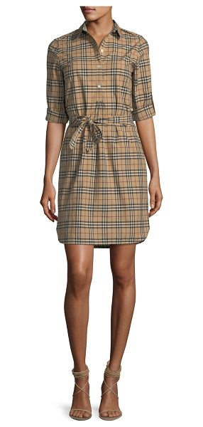 Burberry Check-Print Belted Tunic Dress in camel - Burberry tunic dress in signature check-print. Spread...