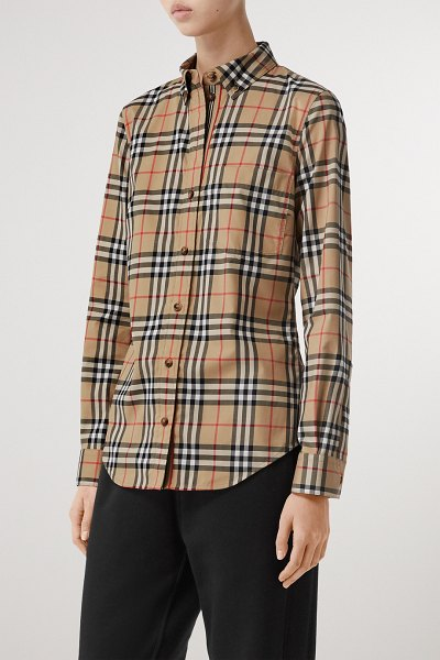 Burberry checked cotton-blend shirt in beige