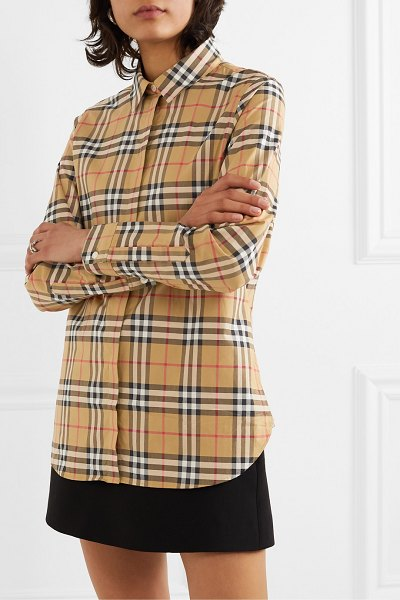 Burberry net sustain checked cotton-poplin shirt in beige