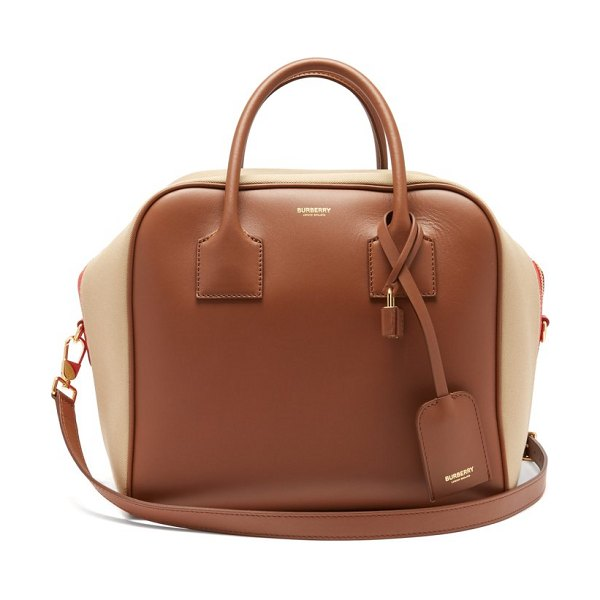 Burberry cube medium leather bowling bag in tan multi