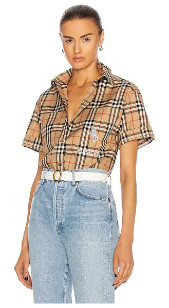 Burberry curlew short sleeve button down top in archive beige check