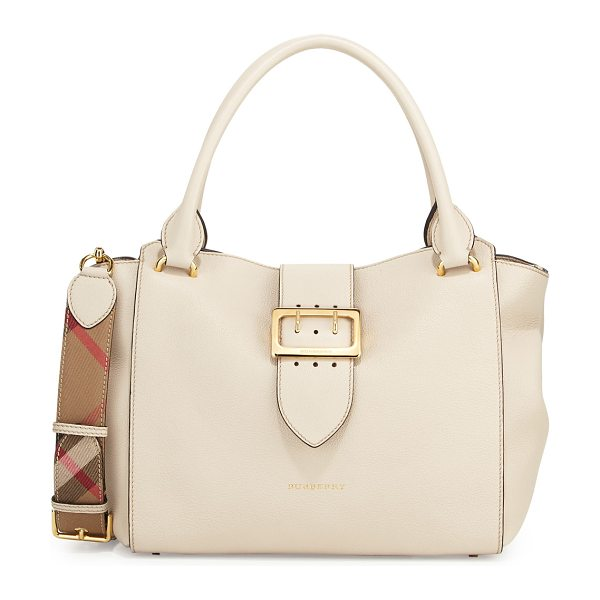 BURBERRY Buckle Medium Tote Bag in limestone - Burberry soft grained leather tote bag. Golden hardware....