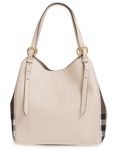 Burberry Derby canterbury house check shoulder tote in limestone - Inset side panels in Burberry's House check add a...