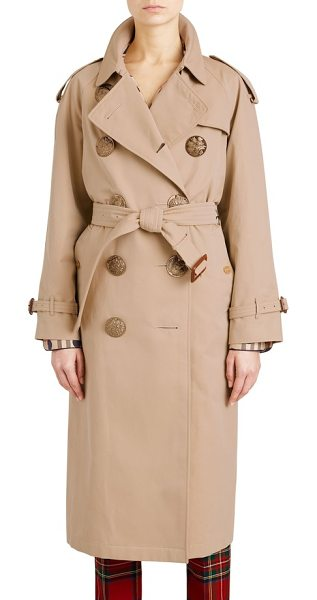BURBERRY eastheath bird button cotton trench coat -