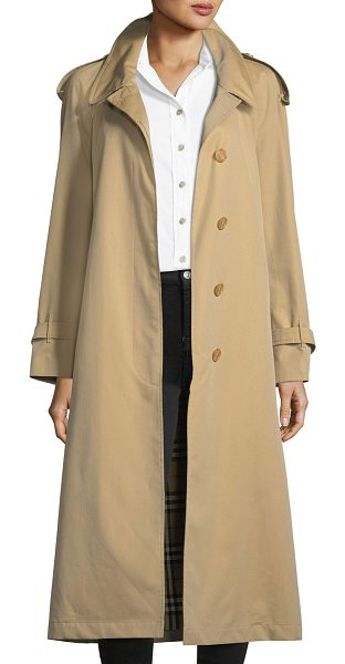 """Burberry Eastheath Double-Breasted Trench Coat in honey - Burberry """"Eastheath"""" trench with contrast wool collar...."""