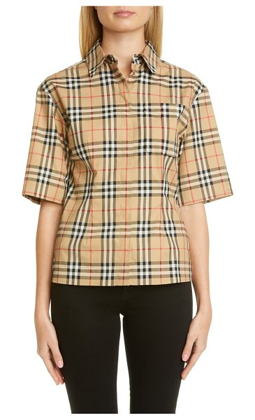 Burberry eleanora check stretch cotton camp shirt in beige