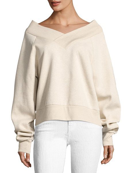 Burberry Falacho V-Neck Long-Sleeve Sweatshirt in light beige - Burberry sweatshirt in cotton-blend. Wide V neckline...