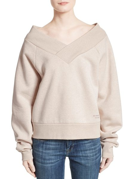 Burberry falacho v-neck sweatshirt in oatmeal melange - At once sporty and sculptural in nature, this decadently...