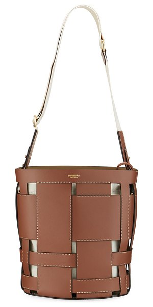 Burberry Foster Woven Smooth Bucket Bag in brown