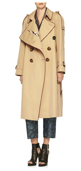 BURBERRY gabardine asymmetric drape trench coat - Oversized drape-front trench with regimental striped...