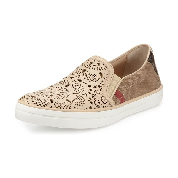 Burberry Gauden Check Laser-Cut Slip-On Sneaker in stone lace/check - ONLYATNM Only Here. Only Ours. Exclusively for You....