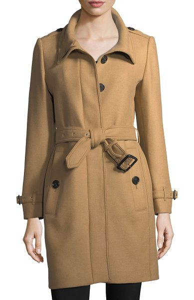 "Burberry Gibbs Moores Long Trench Coat in camel - Burberry ""Gibbs Moores"" wool-blend trench coat. Spread..."