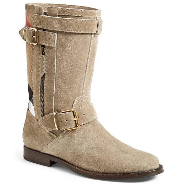 Burberry grantville boot in mink grey - Signature checks accent a svelte suede boot girded in...