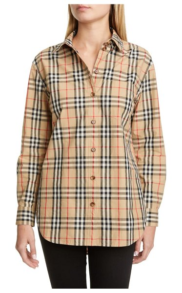 Burberry guan check cotton button-up shirt in beige