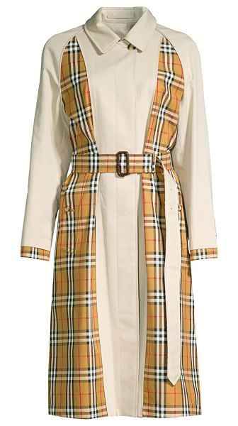 Burberry guiseley inside-out check trench coat in stone