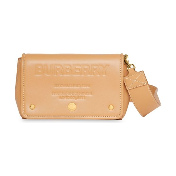 Burberry hackberry leather crossbody bag in warm sand