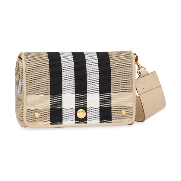 Burberry hackberry vintage check canvas crossbody bag in soft fawn