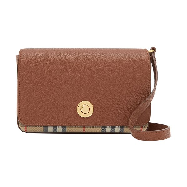 Burberry Hampshire Small Vintage Check Canvas & Leather Crossbody Bag in tan