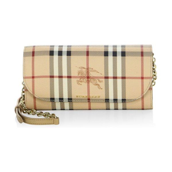 Burberry haymarket check crossbody bag in camel - Signature check elevates practical crossbody. Shoulder...