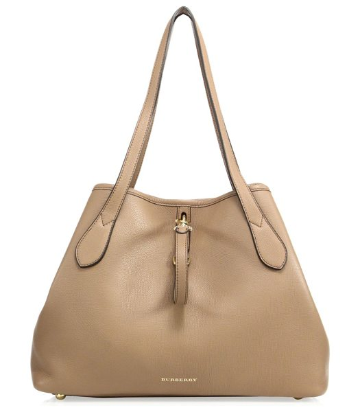 Burberry honeybrook medium derby leather tote in dark sand - Foldable leather tote with polished goldtone hardware....