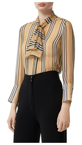 Burberry Icon striped sheer mulberry silk shirt in beige