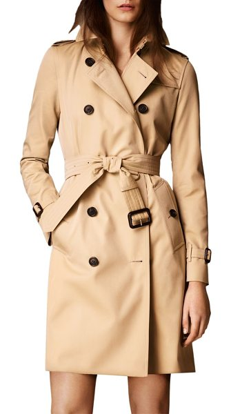 Burberry kensington long heritage trench coat in honey - Modern-fit cotton  Kensington is tailored 75d952d81c9