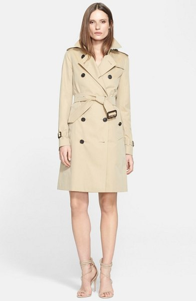 Burberry kensington long trench coat in honey - Classic trench styling-including storm flaps, epaulets...