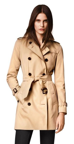 Burberry kensington mid-length heritage cotton trench coat in honey - Modern-fit cotton Kensington is tailored with a tapered...