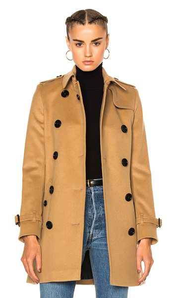 Burberry Kensington Trench in neutrals - Self: 80% wool 20% cashmere - Contrast Fabric: 70% wool...