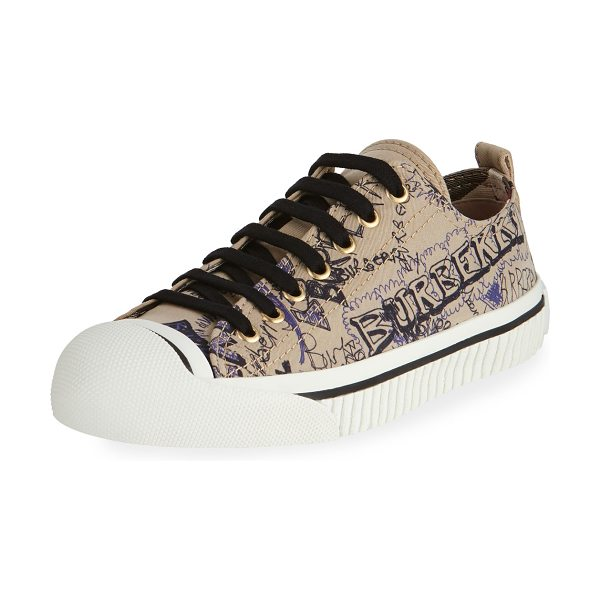 "Burberry Kingly Low-Top Sketchbook Sneaker in honey - Burberry fabric sneaker in logo sketchbook print. 0.5""..."