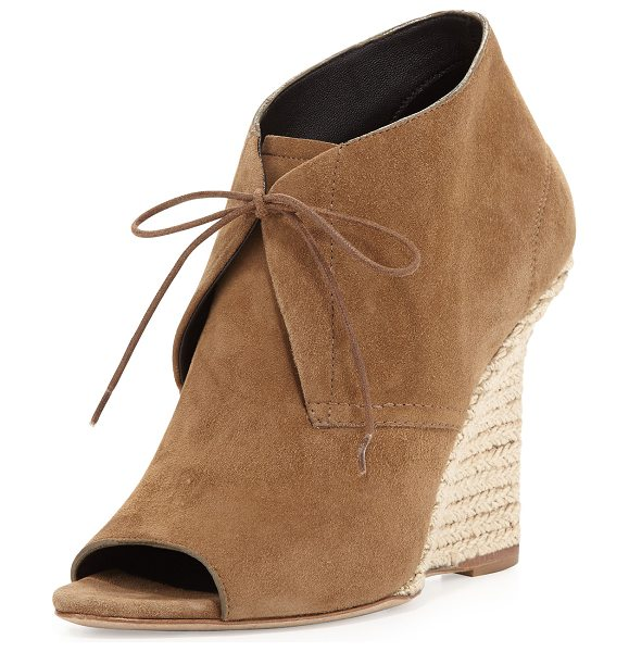 "Burberry Lace-Up Chukka Espadrille Wedge in walnut brown - Burberry suede wedge bootie. 4.25"" braided-jute wrapped..."