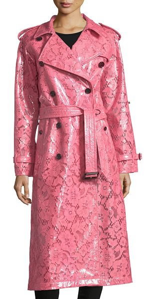 Burberry Laminated Lace Trench Coat in bright pink - Burberry pink laminated lace trench coat. Notched...