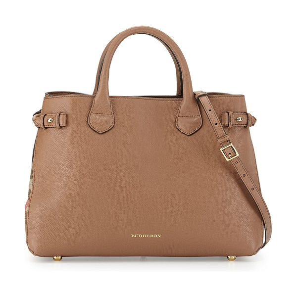 Burberry Leather & check canvas tote bag in dark sand - Burberry leather tote with golden hardware. Signature...