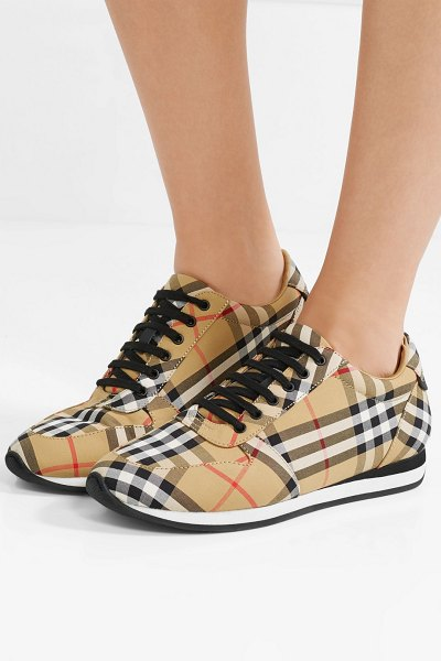 Burberry leather-trimmed checked canvas sneakers in beige - Modeled after retro sneakers, Burberry's pair is made...