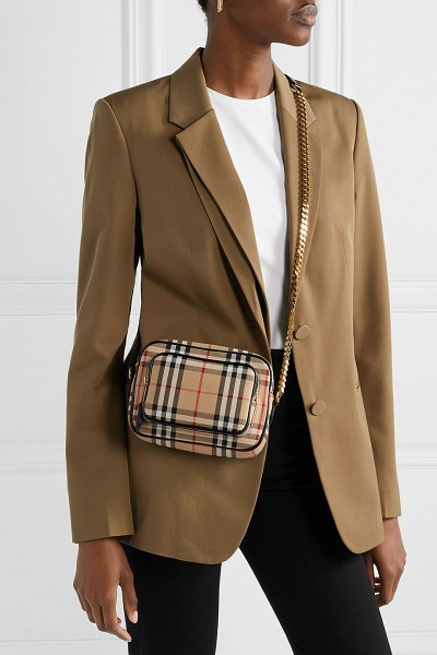 Burberry leather-trimmed checked cotton-canvas shoulder bag in brown