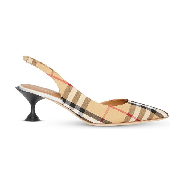 Burberry leticia leather slingback pumps in neutral