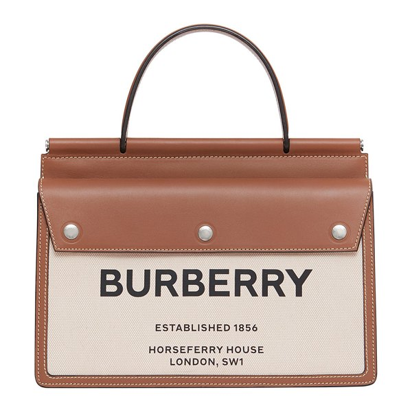 Burberry Logo Canvas & Leather Tote Bag in neutral
