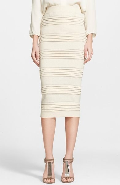Burberry London cotton blend knit pencil skirt in parchment - The lean, midi-length silhouette of this cotton-blend...